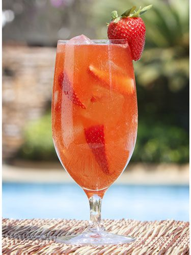 Skinny Dipping: 2 oz. Voli Lemon Vodka, 2 oz. fresh lemon juice, 1 oz. strawberry puree, 1/2 oz. agave nectar, prosecco to top. Shake all ingredients except prosecco and strain into an ice-filled 16 oz. cup. Top with prosecco and garnish with a strawberry.