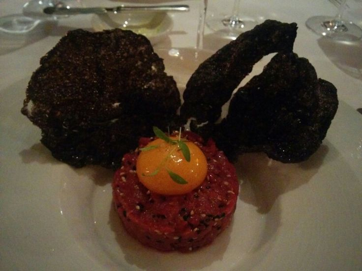 Darley's; Japanese Inspired F1 Wagyu Beef Tatare, Squid Ink Rice Wafer, Soft Yolk, Coriander and Sesame - A: 4