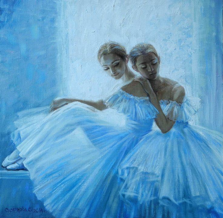 живопись - жанровая картина,  Две балерины у окна