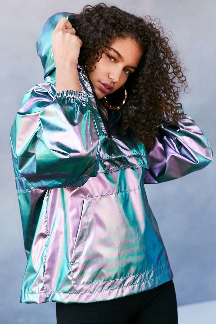 °•.* Pinterest || hopepapworth ❁ Silence + Noise Iridescent Packable Windbreaker Jacket - Urban Outfitters