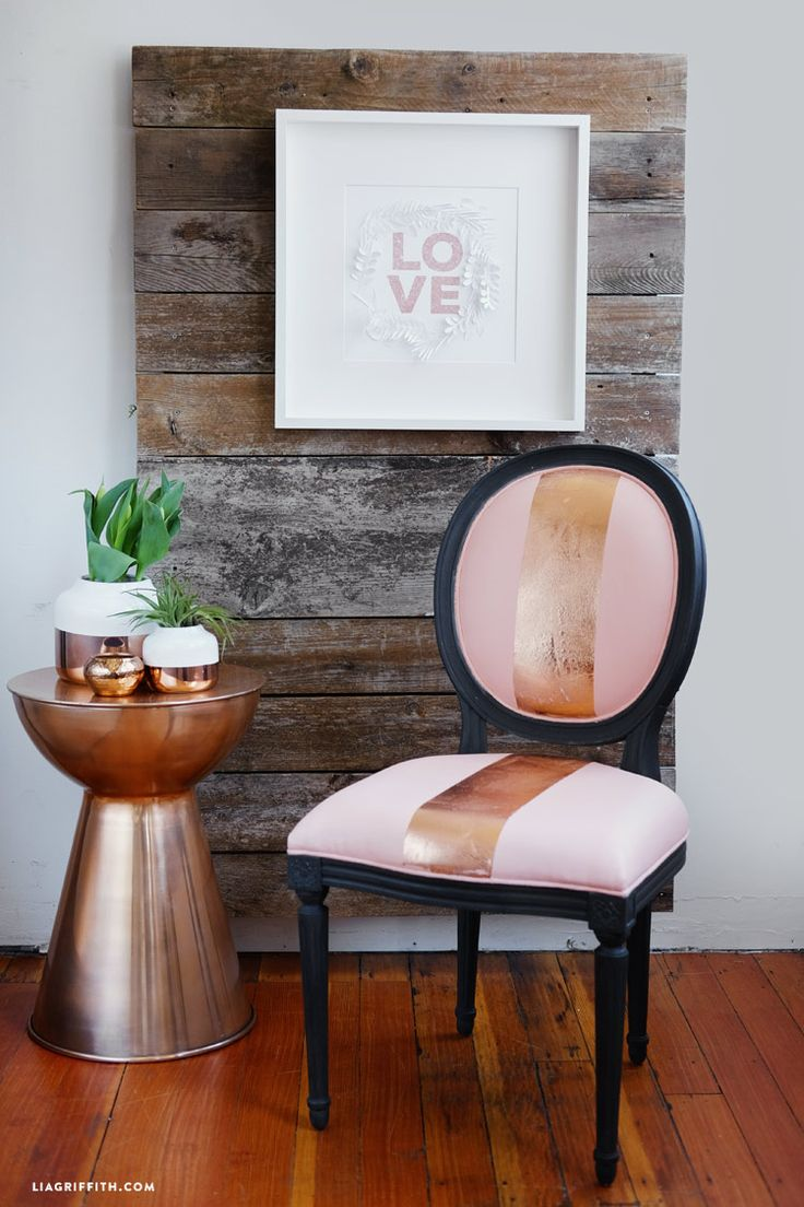 Charcoal and Rose Gold Metallic Custom Finish on Octavia Chair by Lia Griffith | AVE Raw Collection has Raw Wood Furniture ready for Custom Finishes | Ave Home