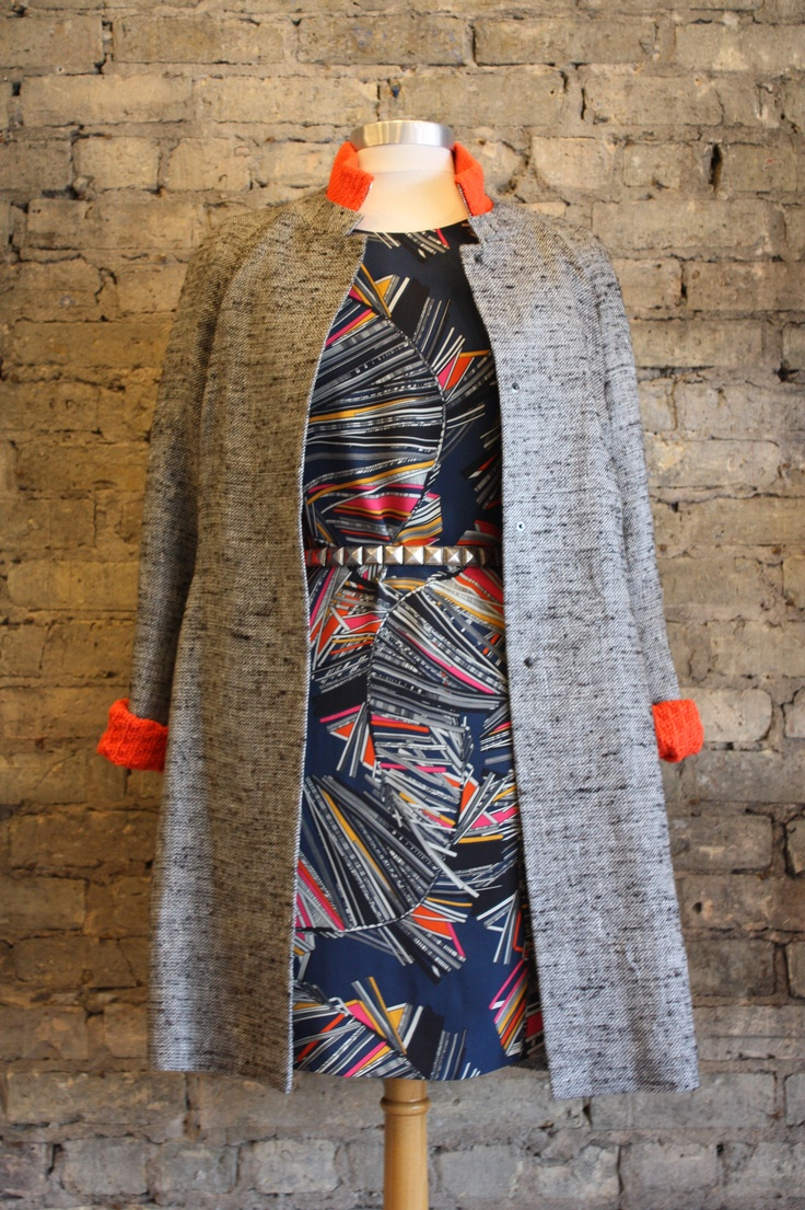 Matthew Williamson dress, Rene Lezard coat, orange Loro Piana knit zip up sweater