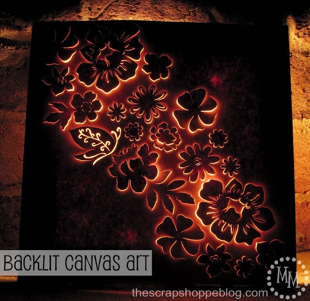 The Scrap Shoppe: Backlit Canvas Art This is gorgeous! Canvas, lights, cardboard,