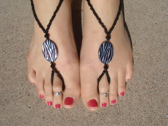 Zebra Barefoot Sandals, Slave Anklet, foot jewelry, ankle bracelet with toe ring via Etsy