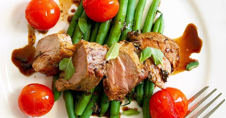 Try this perfect medley of glazed pork fillets and fresh garden salad.