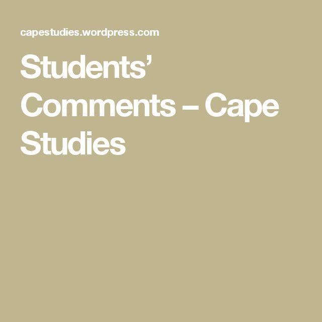 Students' Comments – Cape Studies