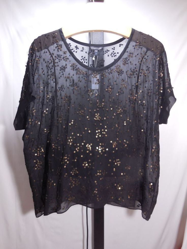 MISSES BLACK SILK TARNISHED SEQUIN BLOUSE BOX-TOP SHIRT EILEEN FISHER S $238 #EileenFisher #BOXTOP