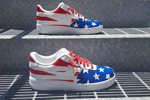 free shipping 372fb a6d7d Custom Nike Air Force 1 Shoes  4th of July  America  AF1  Nike Shoes  Air  Force 1 Low  Custom