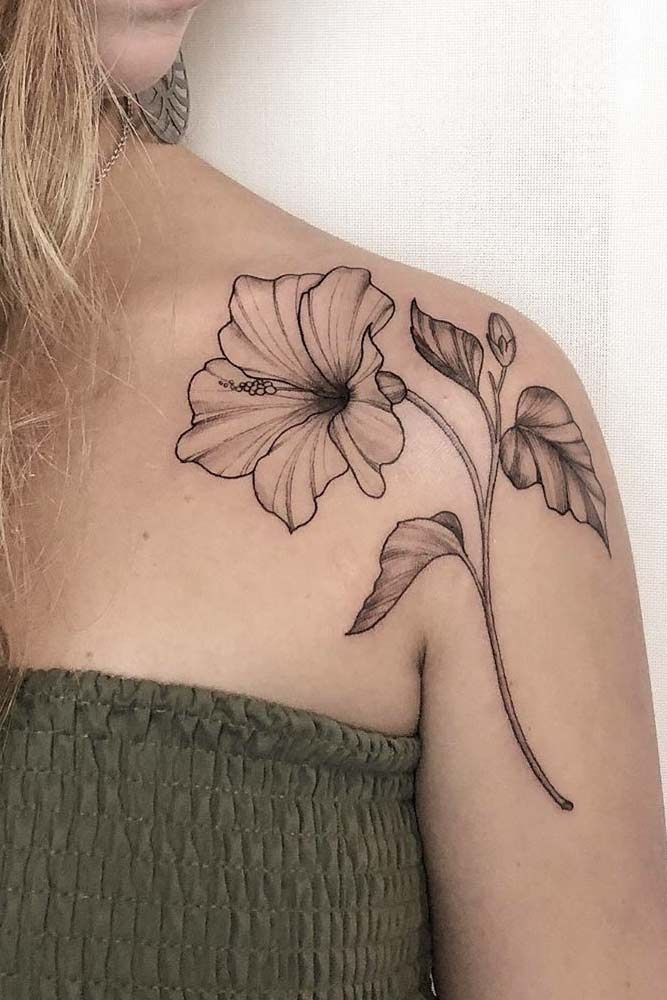 23 Flower Tattoos Designs And Meanings For Your Inspo Tattoo Designs And Meanings Hibiscus Flower Tattoos Flower Tattoo Shoulder