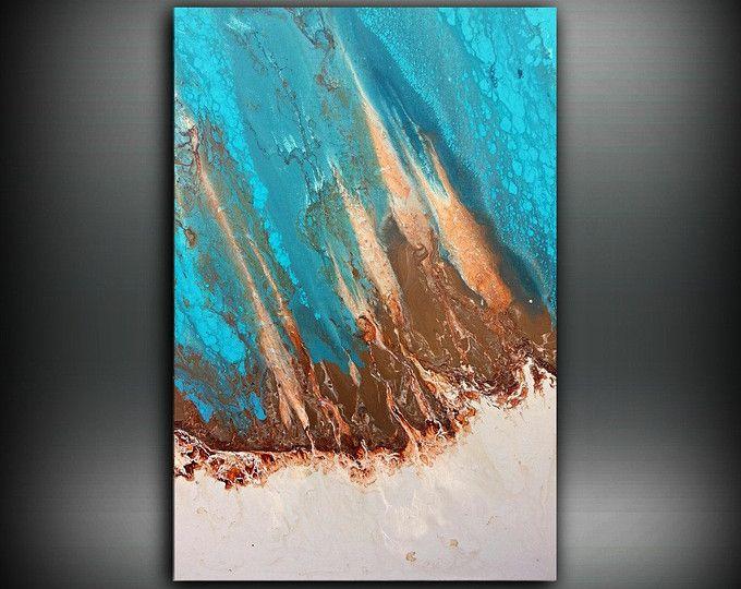 Arte pittura, tela, acrilico pittura astratta, pittura costiera, grande parete arte moderna arte, Oggettistica per la casa costiera 24 x 36