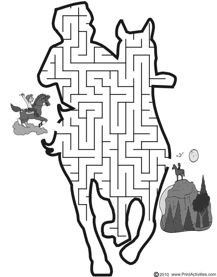 Boy riding horse shaped maze from PrintActivities.com