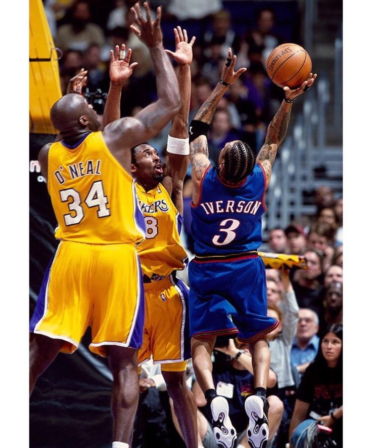 Allen Iverson taking it to the rim against Shaq and Kobe