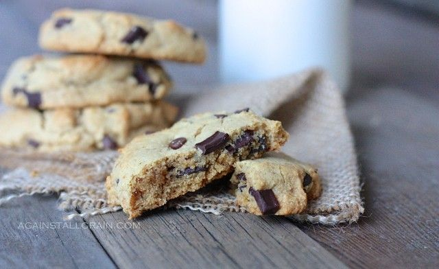 Real-Deal Chocolate Chip Cookies from againstallgrain.comPaleo Chocolate, Chocolate Chips, Grain Free, Chocolates Chips Cookies, Grains Free, Gluten Free, Real Deals Chocolates, Almond Flour, Chocolate Chip Cookies