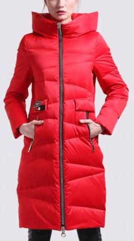 Hooded Zig Zag Stitch Puffer Down Coat in Red