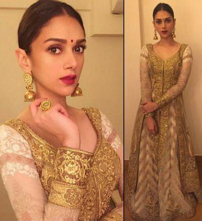 Fashion Lookbook Of AkanshaSharma - Aditi Rao Hydari Celebrates Diwali In This Beautiful Sparkling Gold Outfit | IndiaRush