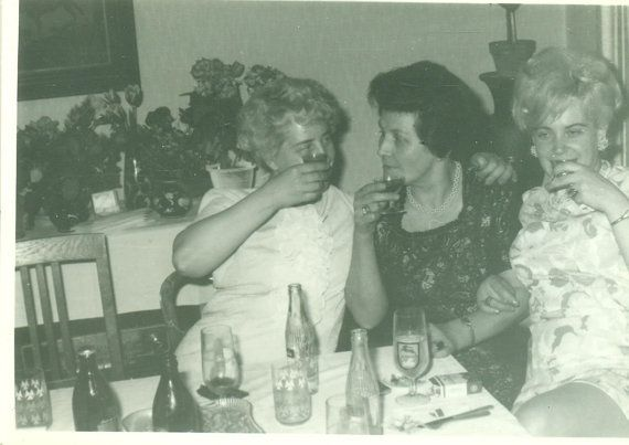 Three Drunk Women Having Fun at Party Beer Cocktails Wine Shots Vintage Black and White Photo Photograph