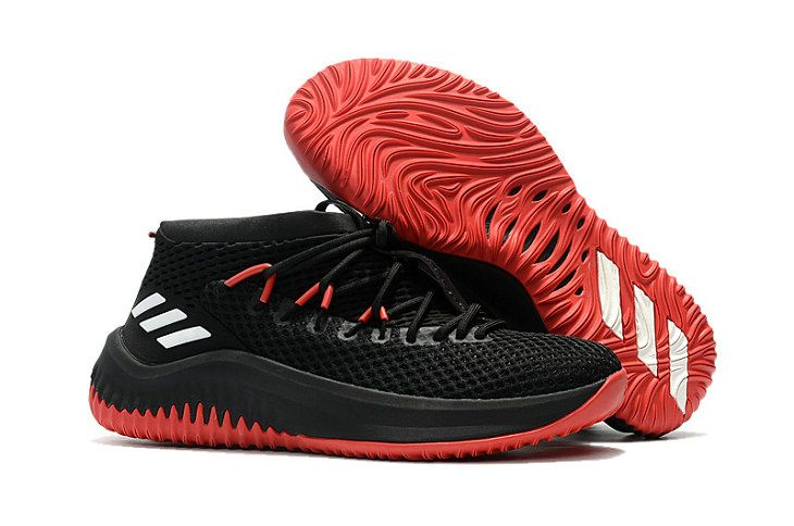 adidas Dame 4 D Lillard Black White Red Basketball Shoe For Sale ... ff441dcd1