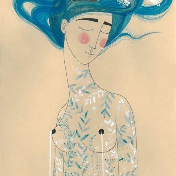 She seas #illustration #thetaleoftheunknownisland #josesaramago #she #watercolor #bookillustration #sea #blue