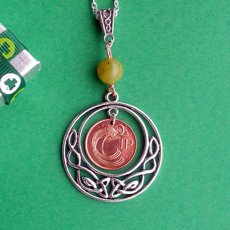 Celtic Circle of Life, Irish copper coin, 10mm Connemara Marble Bead, Celtic Bail and Sterling Silver chain. choose years 1971 - 2000 by VintageIrishDresser on Etsy