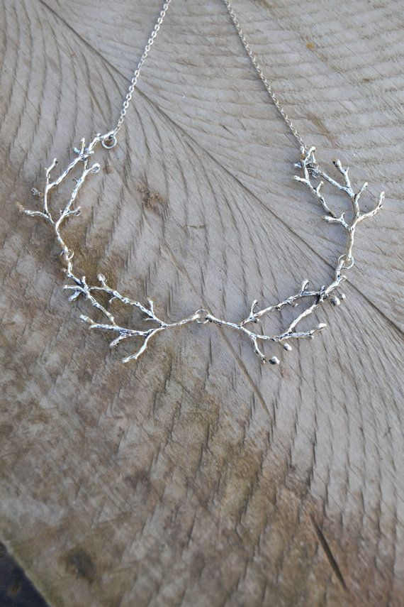 Into the woods necklace, silver twig necklace, statement branch necklace, woodland necklace antler necklace