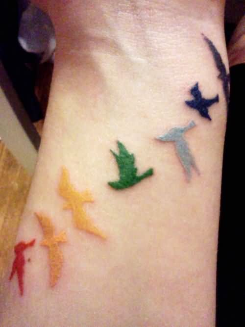 Colored Flying Birds Wrist Tattoo