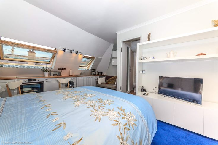 Sea underfoot - you'll be pleased with a charming inexpensive Paris studio near Trocadero at Avenue Raymond Poincare.
