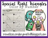 FREE Special Right Triangles Color By Number Activity Worksheet