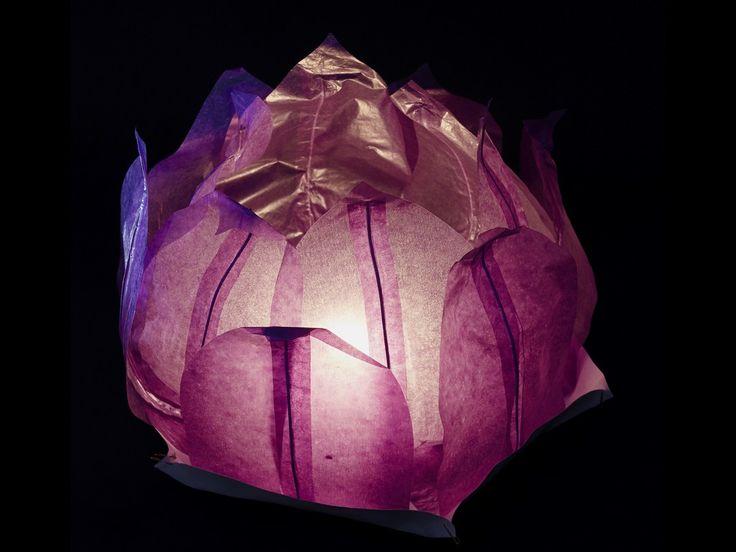 Ninfea Galleggiante di carta di riso viola.Diametro 30 cm. Sono inclusi la candela, il manuale e il pennarello. Riutilizzabile, basta cambiare la candela.Istruzioni, la preparazione è molto facileScrivere...