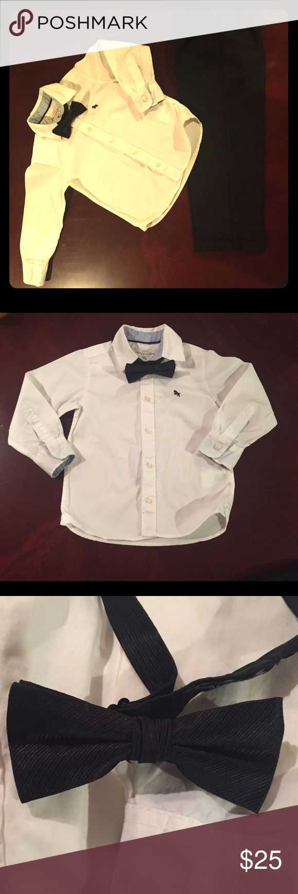 🖤 Kids Formal Set w/ Bow Tie 🖤 3T Long Sleeve White Button Down • 3T Tuxedo Pants • Black Clip-on Bow Tie • Suggestions: BUNDLE with Oxford Sperry Top Sider shoes for $50 😍 I will throw in a FREE gift (size 3T) 🛍 Matching Sets