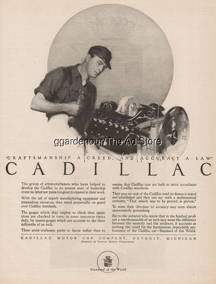 1923 Cadillac Motor Car Craftsman Detroit MI General Motors GM Magazine Print Ad