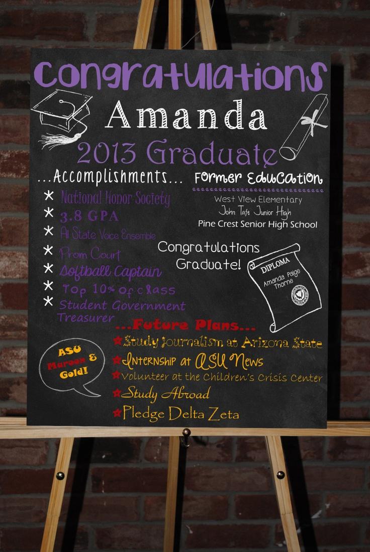 Custom Printable Graduation Board Poster. $35.00, via Etsy.