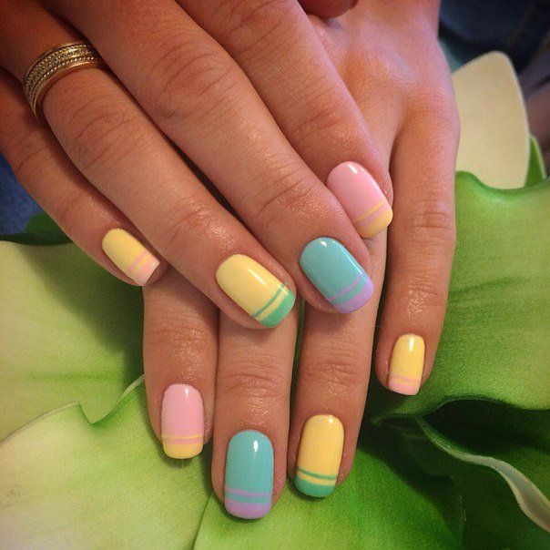 Cheerful nails, Color french manicure, Everyday nails, Multi-color nails, Multi-colored french manicure, Nails ideas 2016, Stylish nails 2016, Summer bright french manicure