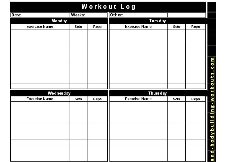 Best Free Printable Workout Logs | Silicone Wedding Band | B2ACTION