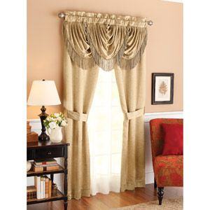 Better homes and gardens triple waterfall fringe window Better homes and gardens valances for small windows