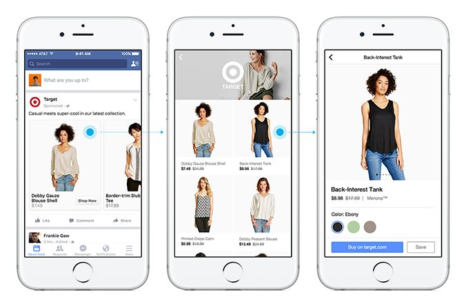 Facebook product ads canvas per e-commerce. #FacebookAds #SMM #FacebookShopping #FacebookCanvas #SocialNetwork #ecommerce #mobilecommerce