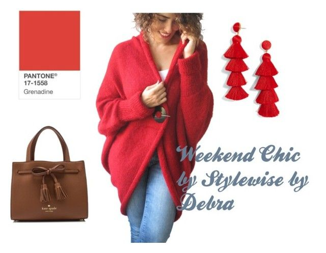 """Grenadine Weekend Chic"" by stylewisebydebra ❤ liked on Polyvore featuring BaubleBar and Kate Spade"