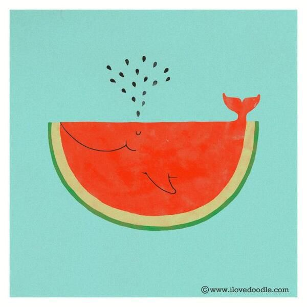 This is an adorable watermelon whale.
