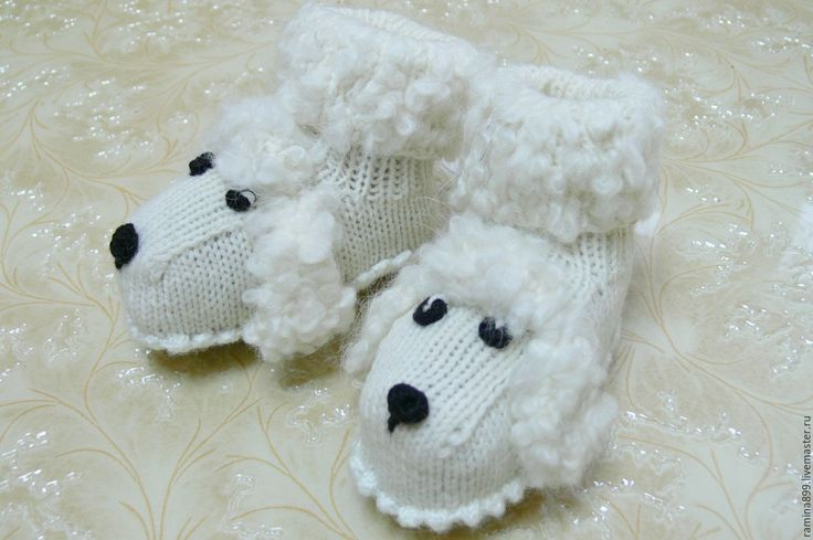 Купить Пинетки для новорождённых вязание спицами Собачки Белый Пудель - пинетки, пинетки для новорожденных