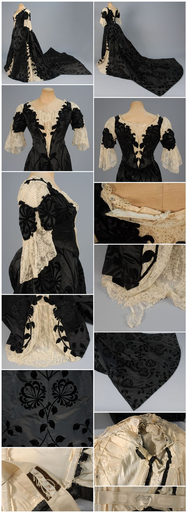 WORTH EVENING DRESS with COURT TRAIN WORN by FORMER FIRST LADY HARRIET LANE at the COURT of ST. JAMES, c. 1898. 2-piece black silk velvet voided to satin, boned back-lacing bodice cut along velvet floral and inset at shoulder, front and back with cream Alencon lace over chiffon with spangles, short sleeve having lace ruffle, matching skirt with three front lace gores over pleated chiffon and long, square train, silk lining. Whitaker Auctions.