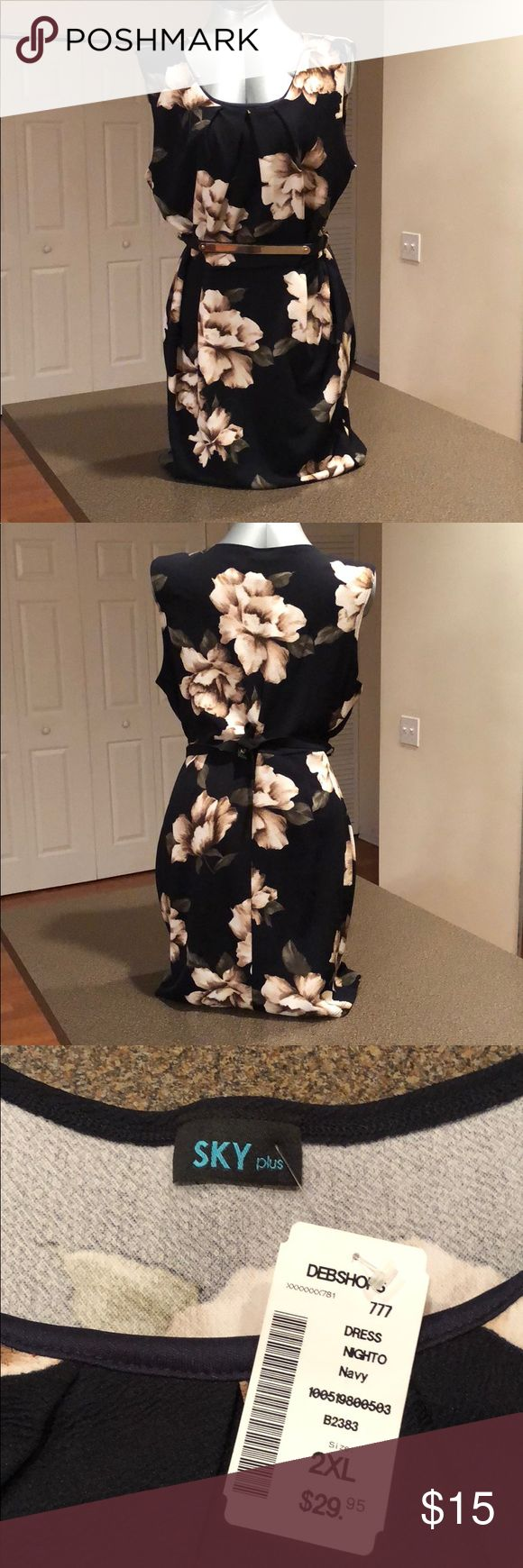 """✂️✂️ FLASH CLOSET SALE ✂️✂️ NWT Deb Shops belted sheath dress. Navy blue with brown and cream floral floral print. Belt snap closure, 41 1/2"""" flat, more than 60"""" stretched. Bust 20""""/25"""", waist 19""""/24"""". Length 35 1/2"""". Deb Dresses Mini"""
