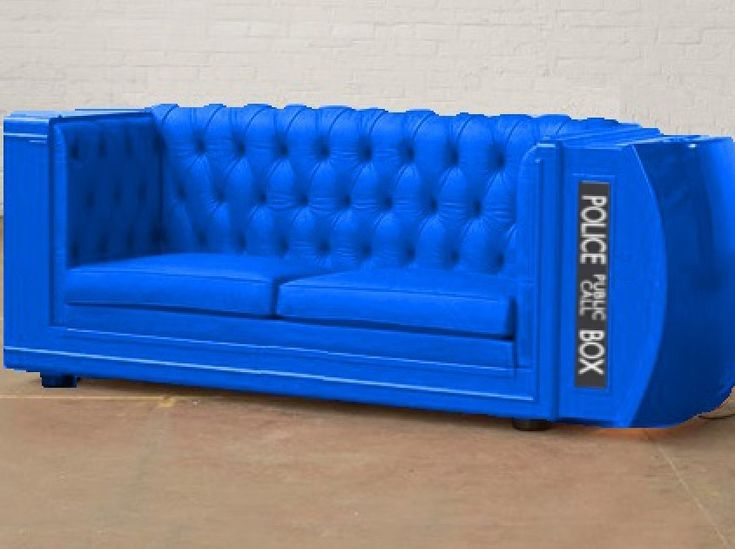 TARDIS Couch!!- I want to sit on this while watching Doctor Who, drinking from my Tardis coffee cup. Pretty sure that increases the chances of Matt Smith or David Tennant showing up at my house ;)
