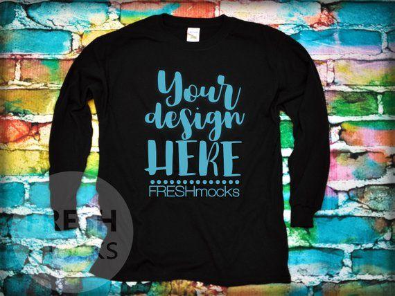 891e3338 Gildan G540B Unisex Long Sleeve Tshirt T-Shirt Tee MOCKUP - Black Youth  Tshirt Mock Up on Rainbow Graffiti Background - Flat Lay