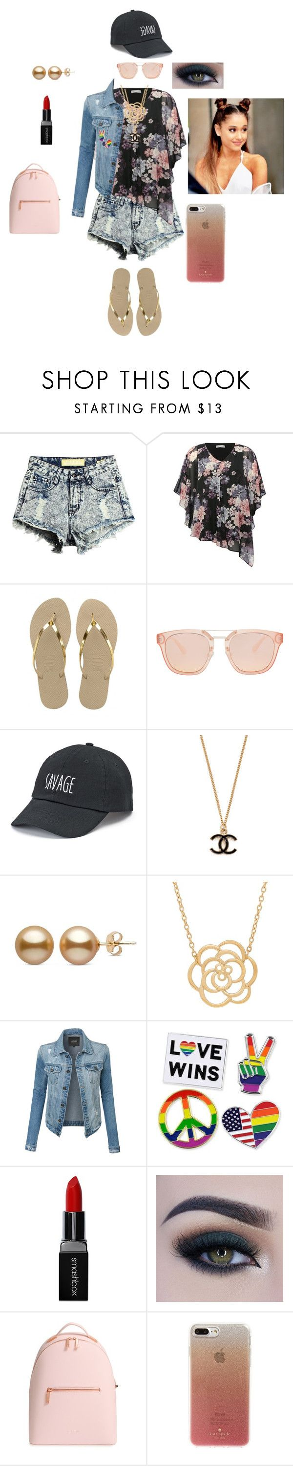 """""""Giselle William's warped tour outfit"""" by lilith2002 on Polyvore featuring M&Co, Havaianas, SO, Lord & Taylor, LE3NO, Smashbox, Too Faced Cosmetics, Ted Baker and Kate Spade"""