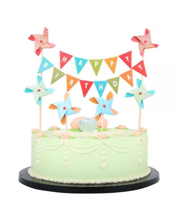 Happy Birthday Cake Topper Banner With Small Windmill Cake Flag Birthday Party Cake Decorations Triangle Triangle Cy18ec6m095 Birthday Cake Toppers 1st Birthday Cake Topper 60th Birthday Cake Toppers