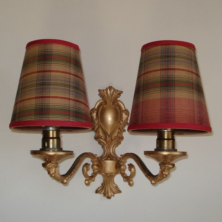 Candle Lamp Shades Shop: Red and Gold Plaid - 4.5inch Handmade Candle Clip Lampshade for Wall Lights /Chandeliers,Lighting