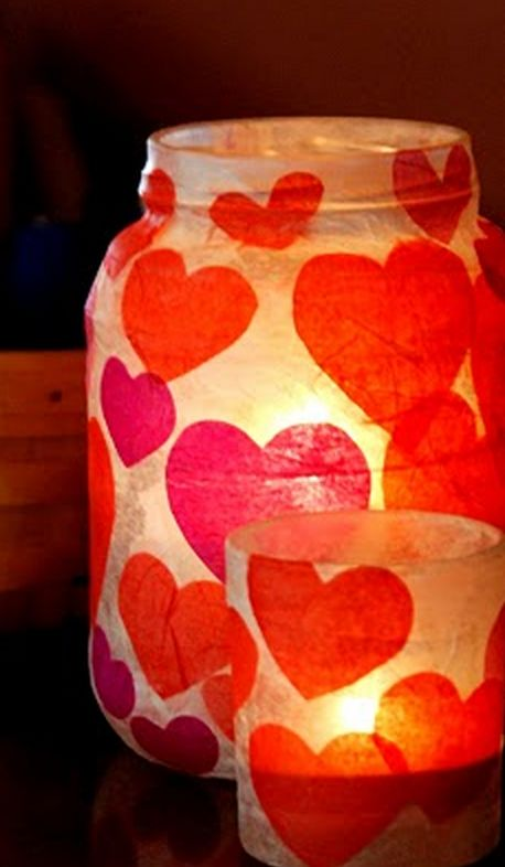 Fun Valentine's Day art class idea: tea light holder using a mason