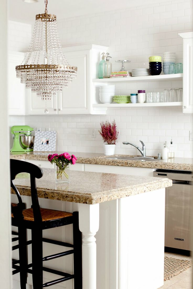 Chandelier in the kitchen subway tile open shelves - White tiels kitchen ...