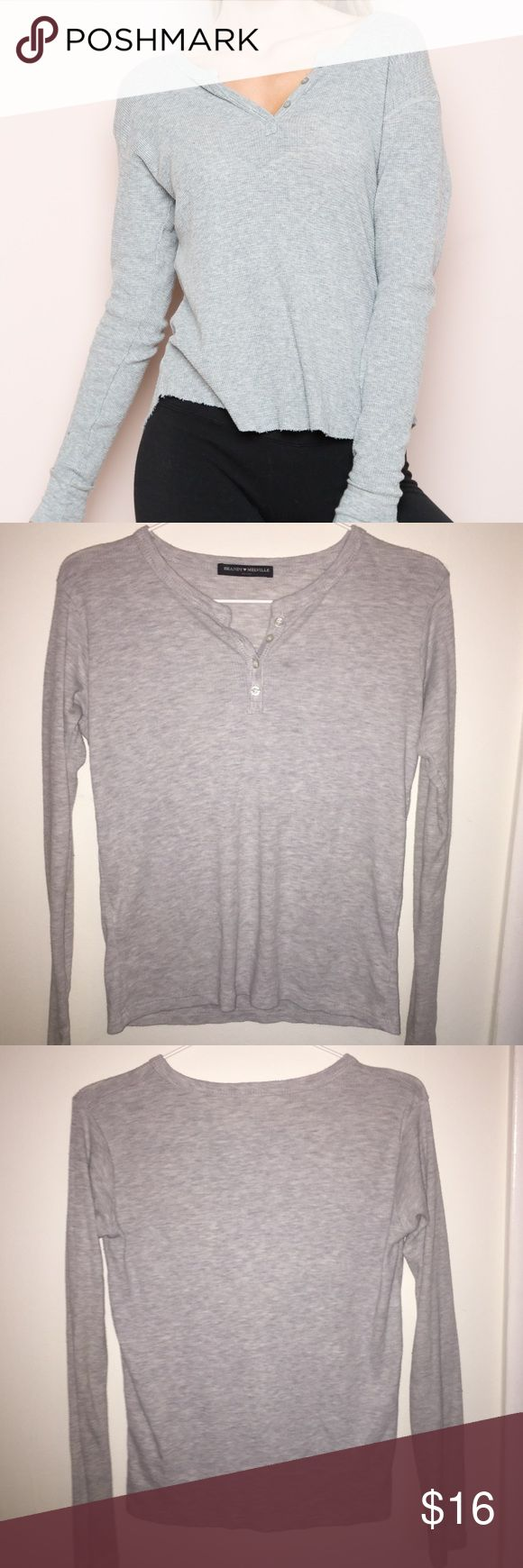 BRANDY MEL (CLEAR OUT) - Grey Henley Top Worn once, no signs of wear! Buttons are in perfect condition. Soft material with light grey color. No pilling. No PayPal or trading! Brandy Melville Tops Tees - Long Sleeve