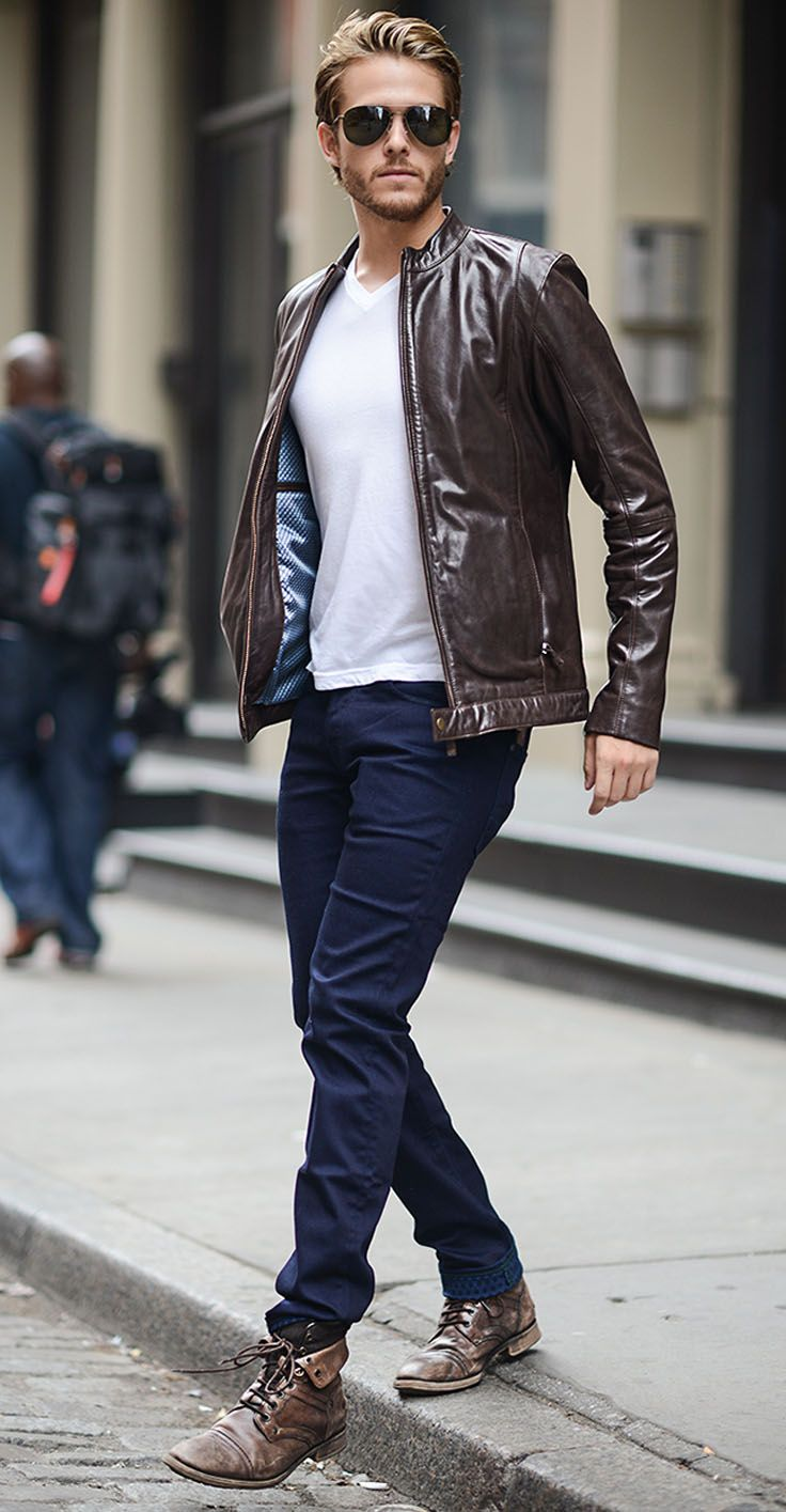 Men's Outfit Ideas. Jeans and a white t-shirt are basics that should be in every closet. Add cool leather boots and a motorcycle jacket.