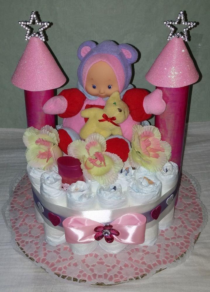 ♥ Windeltorte Schloss  rosa Babygeschenk Taufgeschenk Mitbringsel Mädchen ♥